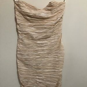Shimmery champagne colored strapless dress